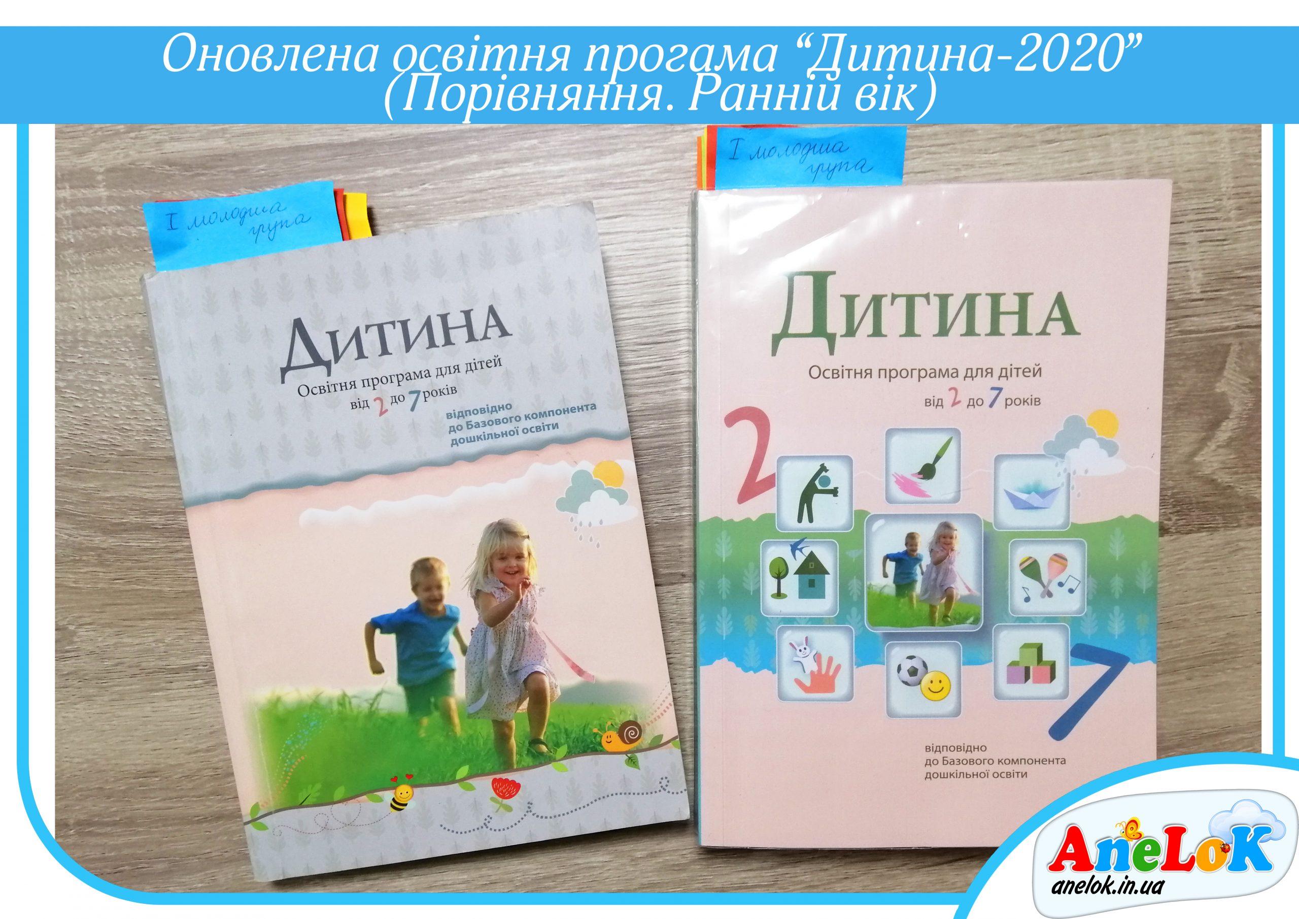 Оновлена освітня програма Дитина (2020) Порівняння. Ранній вік - Магазин Anelok